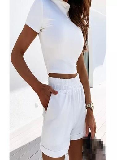 Fashion Tayt Eşofman Takım Beyaz